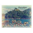 Vintage Portofino view, Italy Postcard