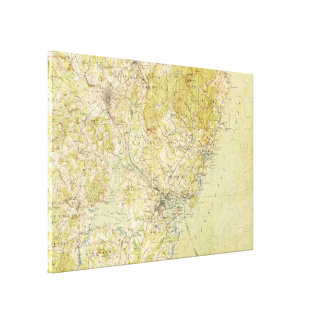 Vintage Portsmouth NH Topographic Map (1917) Gallery Wrap Canvas
