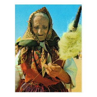 Vintage Portugal,  Minho, old lady spinning Postcard