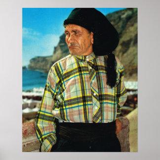 Vintage Portugal,  Nazare, fisherman Poster