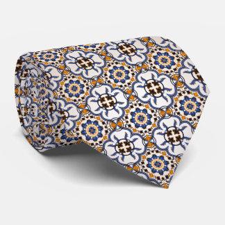 Vintage Portuguese Azulejo Blue Yellow Pattern Tie