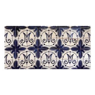 Vintage portuguese azulejo customised photo card