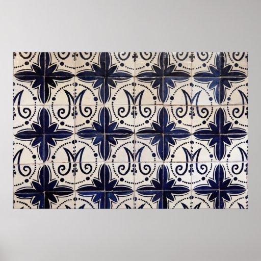 Vintage portuguese azulejo print