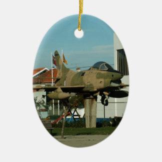 Vintage Portuguese Fighter Jet Ceramic Oval Decoration