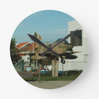 Vintage Portuguese Fighter Jet Round Clock