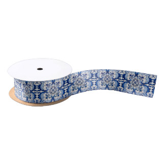 Vintage Portuguese Tile Pattern Satin Ribbon
