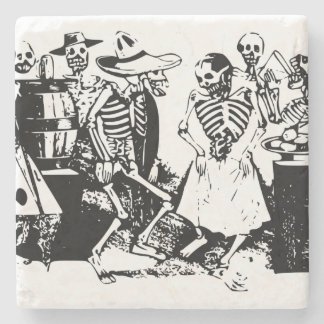 Vintage Posada Mexican Skeleton Dance Stone Coaster