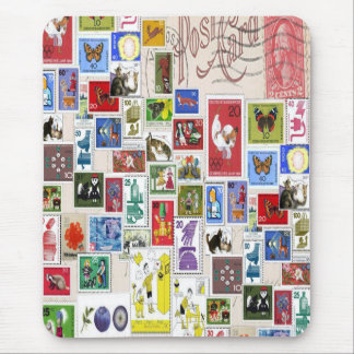 Vintage post card colourful  stamps collection mouse mat