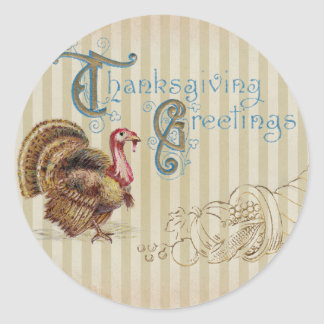 Vintage Post Card Thanksgiving Turkey Sticker