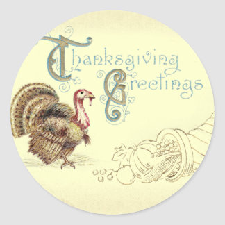 Vintage Post Card Thanksgiving Turkey Stickers