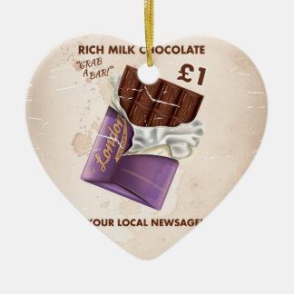 Vintage Post-War Chocolate Advertisement Ceramic Heart Decoration