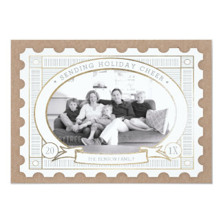 Vintage Postage Stamp Holiday Photo Card 13 Cm X 18 Cm Invitation Card