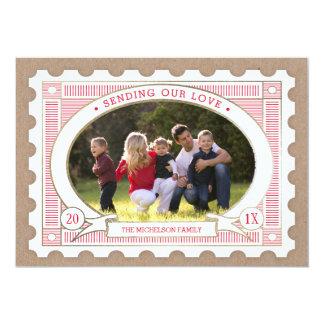 Vintage Postage Stamp Valentine's Photo Card 13 Cm X 18 Cm Invitation Card