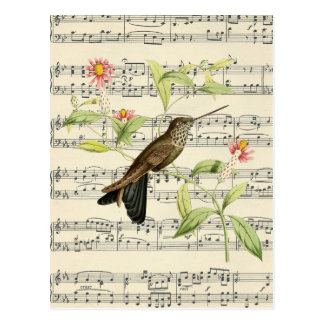 vintage postcard botanical hummingbird music