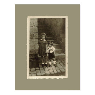 Vintage Postcard - Boy and Girl