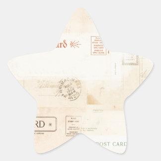 vintage postcard collage background star sticker