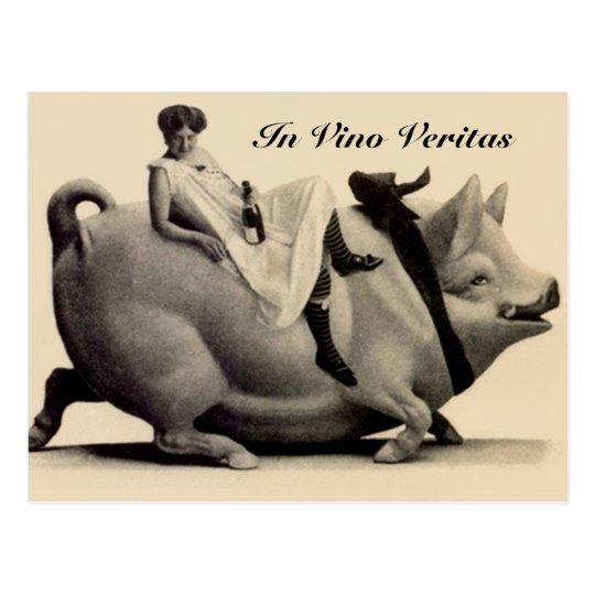 Vintage Postcard lady wine & pig In Vino