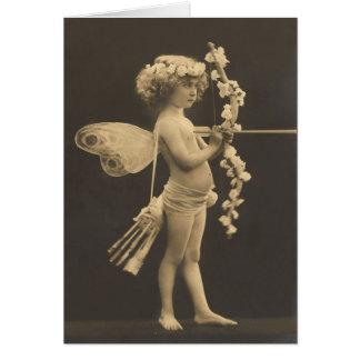 Vintage Postcard - Little Girl Cupid Greeting Card