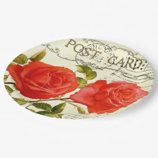 Vintage Postcard Two Roses Romantic Floral Party 9 Inch Paper Plate