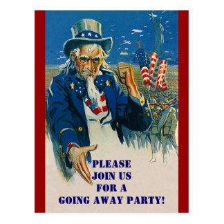 Vintage Postcard Uncle Sam Patriotic Invitation