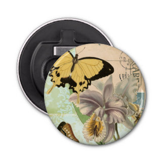 Vintage Postcard with Butterflies and Flowers Bottle Opener