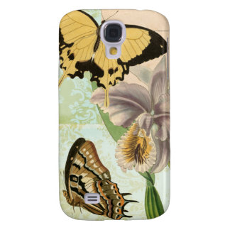Vintage Postcard with Butterflies and Flowers Galaxy S4 Case