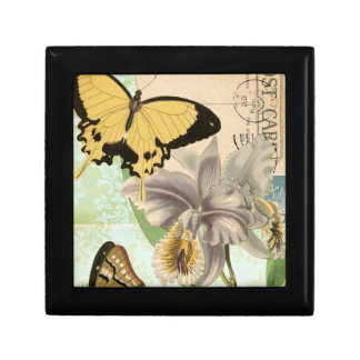 Vintage Postcard with Butterflies and Flowers Gift Box