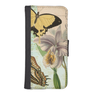 Vintage Postcard with Butterflies and Flowers iPhone SE/5/5s Wallet Case