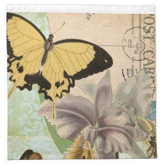 Vintage Postcard with Butterflies and Flowers Napkin