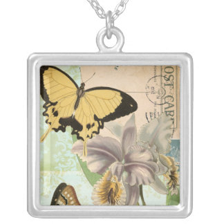 Vintage Postcard with Butterflies and Flowers Silver Plated Necklace
