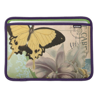 Vintage Postcard with Butterflies and Flowers Sleeve For MacBook Air