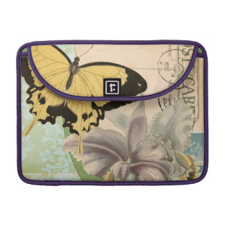 Vintage Postcard with Butterflies and Flowers Sleeve For MacBook Pro
