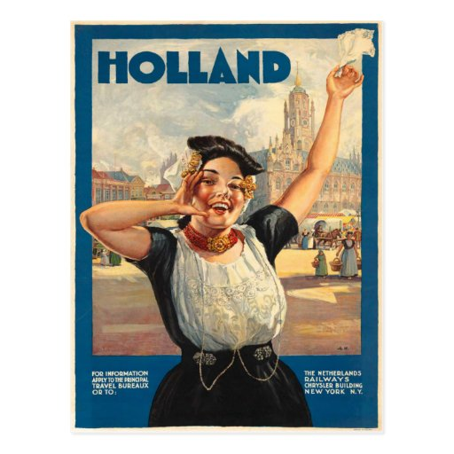 Vintage Postcard With Holland Poster Print