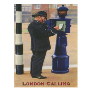 Vintage Postcard With London Police Calling
