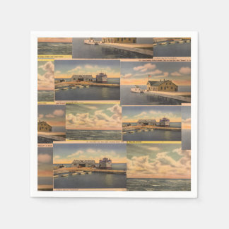 "Vintage Postcards ""Kelley's Island""  Paper Napkins Disposable Napkin"