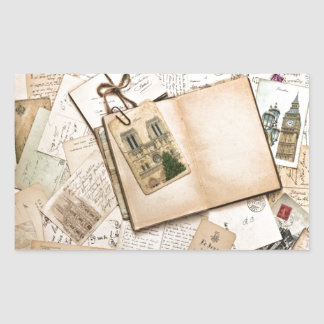 Vintage Postcards & Letters Rectangular Sticker