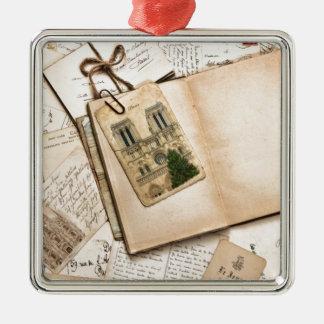 Vintage Postcards & Letters Silver-Colored Square Decoration