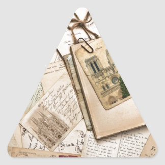 Vintage Postcards & Letters Triangle Sticker