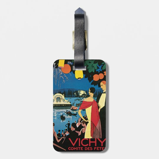 Vintage Poster Art Vichy France Luggage Tag