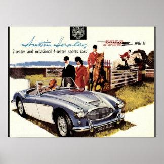 VINTAGE POSTER - AUSTIN HEALEY 3000