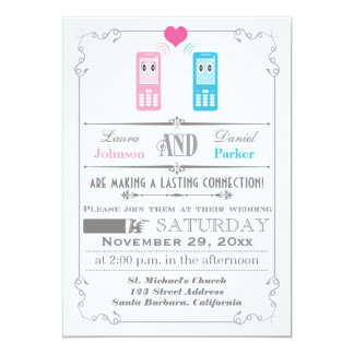 Vintage Poster, Cell Phone Love Wedding Invitation