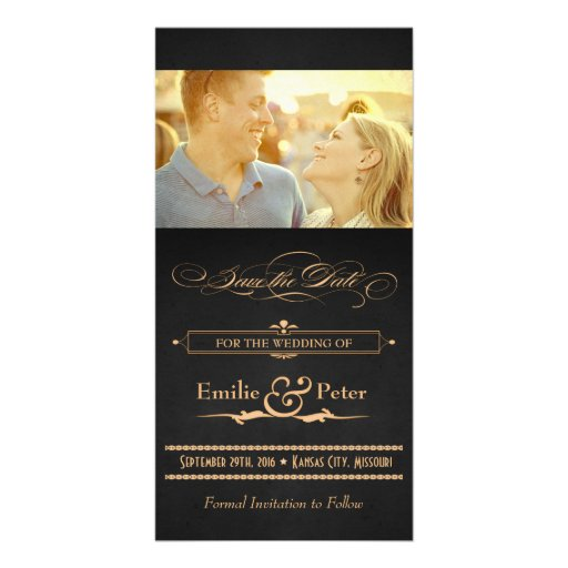 Vintage Poster Charcoal & Gold Save the Date Photo Cards