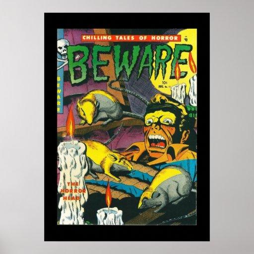 Comic Book Cover Art Prints ~ Vintage poster comic book covers beware zazzle
