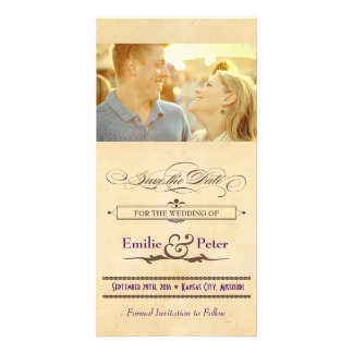 Vintage Poster Cream Brown Save the Date Customized Photo Card