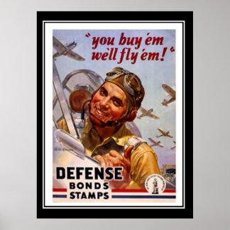 Vintage Poster Defence Bonds Patriotic