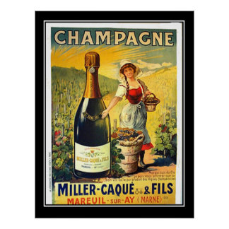 Vintage poster French Girl With Champagne Ad