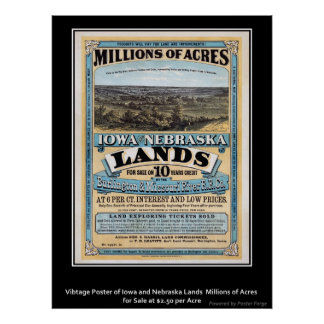 Vintage Poster Iowa/Nebraska Land Sale