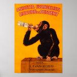 Vintage Poster=Italian Liquor Monkey Poster