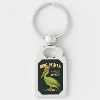 Vintage poster King Pelican Iceberg Lettuce Silver-Colored Rectangle Key Ring