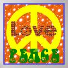 Vintage Poster Love Peace Hippie Peace Sign 60s 70